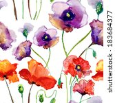 flower watercolor backdrop with ... | Shutterstock . vector #183684377