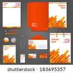 red and orange geometric... | Shutterstock .eps vector #183695357