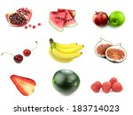 various fruits on white... | Shutterstock . vector #183714023