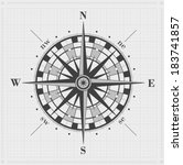 compass rose over grid. vector... | Shutterstock .eps vector #183741857
