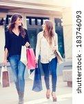 beautiful girls with shopping... | Shutterstock . vector #183746093