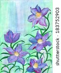 Blue Lily Flowers  Watercolor...