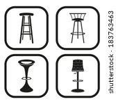 bar stool icon   four variations | Shutterstock .eps vector #183763463