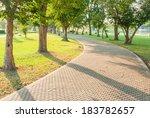 jogging track at green garden | Shutterstock . vector #183782657