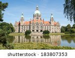 Stock photo landscape of the new town hall in hanover germany 183807353
