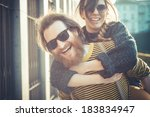 young modern stylish couple... | Shutterstock . vector #183834947