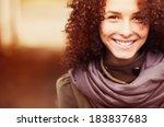 portrait of a beautiful happy... | Shutterstock . vector #183837683