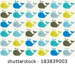 seamless whale pattern | Shutterstock .eps vector #183839003