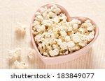 Fresh Popcorn In Heart Shaped...