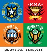 MMA fight academy emblem set