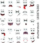 cartoon faces with emotions  | Shutterstock .eps vector #183876383
