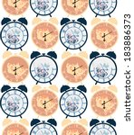 vintage clocks repeated pattern ... | Shutterstock .eps vector #183886373