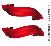 wavy red banners   vector set | Shutterstock .eps vector #183895547