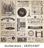 Vintage calligraphic labels. Newspaper style. - stock vector
