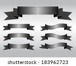 set of dark gray ribbon banners ...   Shutterstock .eps vector #183962723