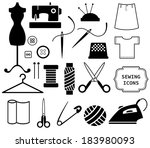 sewing and needlework icons | Shutterstock .eps vector #183980093