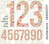 cute floral numbers with birds. ... | Shutterstock .eps vector #184002557