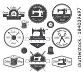 Set of vintage tailor labels, emblems and designed elements. Tailor shop theme