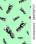 pineapple pattern on green... | Shutterstock . vector #184058717