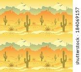 seamless pattern with desert... | Shutterstock . vector #184069157