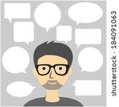 speech bubbles and man | Shutterstock .eps vector #184091063