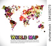 colorful   dotted world map | Shutterstock .eps vector #184100273