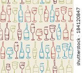 hand drawn colored wine glasses ... | Shutterstock .eps vector #184120847