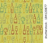 hand drawn colored wine glasses ... | Shutterstock .eps vector #184120877