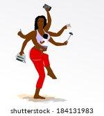 multitasking super mother with... | Shutterstock .eps vector #184131983