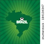 brazil map with soccer ball... | Shutterstock .eps vector #184134347