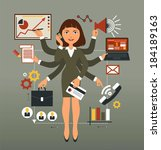 business woman performs many... | Shutterstock .eps vector #184189163