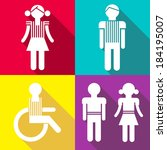 flat people icons with shadows. ... | Shutterstock .eps vector #184195007