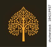 golden bodhi tree symbol thai... | Shutterstock .eps vector #184219937