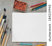 blank paper sheet on canvas... | Shutterstock . vector #184219943