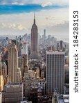 new york city skyline at sunset | Shutterstock . vector #184283153