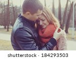 young happy couple hugging in... | Shutterstock . vector #184293503