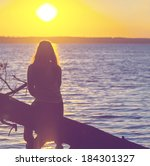girl silhouette on the sunset...