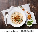 risotto with chanterelles on...   Shutterstock . vector #184366007