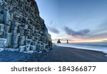 wide view of reynisdrangar rock ...