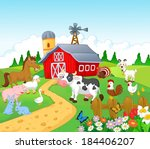 agriculture,animal,background,barn,building,cartoon,chicken,cow,duck,farm,fence,field,flowers,garden,goat