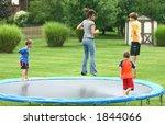 kids jumping on trampoline | Shutterstock . vector #1844066