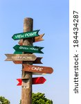sign post showing distances  in ... | Shutterstock . vector #184434287