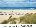 row blue and white beach cabins ... | Shutterstock . vector #184436807