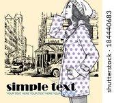 lovely girl on a street...   Shutterstock .eps vector #184440683