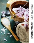 spa setting on old  wooden board | Shutterstock . vector #184460753