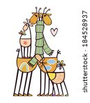 happy family of multicolored... | Shutterstock .eps vector #184528937