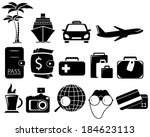 isolated set with black objects ... | Shutterstock . vector #184623113