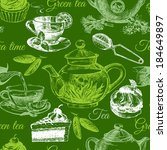 tea and cake seamless pattern.... | Shutterstock .eps vector #184649897