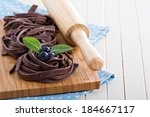 chocolate pasta raw uncooked on ... | Shutterstock . vector #184667117