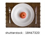 white dish and apple on bamboo... | Shutterstock . vector #18467320